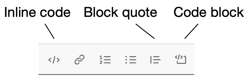 Slack formatting bar with inline code, code block, block quote buttons indicated